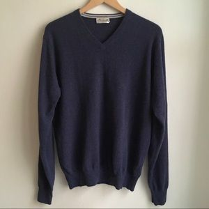 Peter Millar Crown Cashmere Blue V-Neck Sweater M